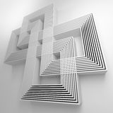 Abstract background with geometric lines. 3D. Abstract background with intersecting geometric lines on a white background. 3D Royalty Free Illustration