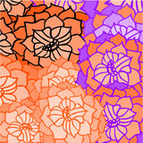 Abstract background of geometric patterns. Abstract background of petal and flowers pattern in orange Stock Photography