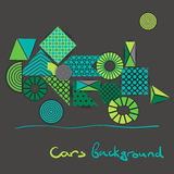 Abstract background of geometric shapes similar to green car.  vector illustration