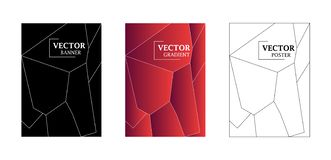 Abstract background with geometrical texture - gradient texture, geometric pattern with polygon. Red gradient, black and white backdrop.  Art for business royalty free illustration