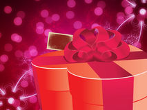 Abstract background with gift box. Illustration of gift box with bow on abstract blurred background Royalty Free Stock Images