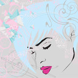 Abstract background with girls face. In bright colors Royalty Free Stock Image
