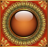 Abstract background with glass ball and gold(en) p. Illustration abstract background with glass ball and gold(en) pattern Royalty Free Stock Photo