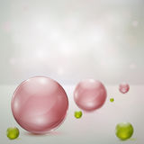 Abstract background with glass spheres. Abstract background with rosy and green glass spheres stock illustration
