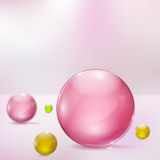 Abstract background with glass spheres. Abstract background with rosy, yellow and green glass spheres Royalty Free Stock Image