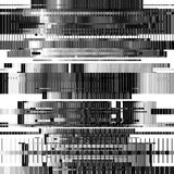 Abstract Background with Glitch Texture. Glitch abstract background with distortion effect, bug, error, random horizontal black and white, monochrome lines for Stock Image