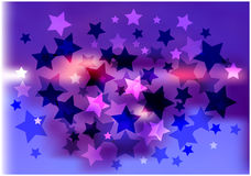 Abstract background with glittering stars. Color illustration of decorative stars on bright blurry background stock illustration