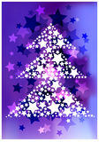 Abstract background with glittering stars and tree silhouette. Color illustration of decorative stars on bright blurry background and white christmas tree Stock Photos