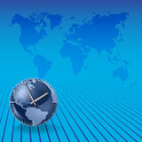 Abstract background with globe. Abstract background with clock on a blue stock illustration