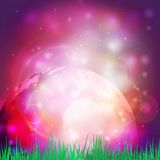 Abstract background of globe with grass vector Royalty Free Stock Photos