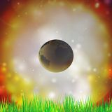 Abstract background of globe with grass vector. Illustration. View at our home from other side Royalty Free Stock Photography