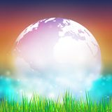 Abstract background of globe with grass vector. Illustration. View at our home from other side royalty free illustration