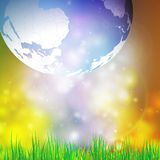 Abstract background of globe with grass vector. Illustration. View at our home from other side Stock Image