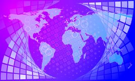 Abstract background from globe map and rectangle mosaic. Abstract background from globe map and rectangle n mosaic stock illustration