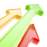 Abstract background of glossy arrows on white Stock Images