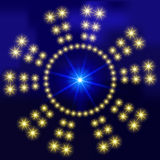 Abstract background with glowing circles of bright luminous stars. For design of websites, banners. On field for text. Vector Stock Images