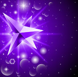 Abstract background with glowing crystal among the stars Royalty Free Stock Photos