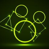 Abstract background of glowing geometric shapes. Vector design royalty free illustration
