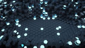 Abstract background with glowing hexagons 3D render. Abstract background with glowing hexagons. Futuristic technology honeycomb structure. 3D render Vector Illustration