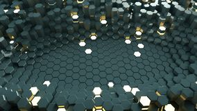 Abstract background with glowing hexagons 3D render. Abstract background with glowing hexagons. Futuristic technology honeycomb structure. 3D render stock illustration