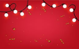 Abstract background  glowing lights with gold ribbon confetti.  Royalty Free Illustration