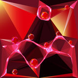 Abstract background of glowing polygons and red balls. Futuristic background of prisms, pyramidal shapes and glowing spheres Royalty Free Stock Photo