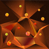 Abstract background of glowing polygons, red and gold balls and polygonal grid. Brown, black, orange and red triangular background with glowing balls vector illustration