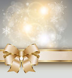 Abstract background gold. Abstract christmas background with elegant gold banner, snowflakes and a bow, vector Stock Images