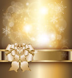Abstract background gold. Abstract background with elegant gold banner and a bow, vector Royalty Free Illustration