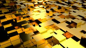 Abstract background with gold blocks. Seamless loop Royalty Free Stock Photography