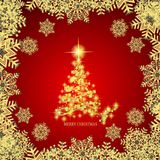 Abstract background with gold christmas tree , snowflakes and stars. Illustration in red and gold colors. Vector. Abstract background with christmas tree and vector illustration