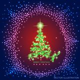 Abstract background with gold christmas tree and stars. Abstract background with christmas tree and stars. Illustration in blue, red and green colors. Vector royalty free illustration