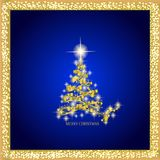 Abstract background with gold christmas tree and stars. Illustration in blue and gold colors. Abstract background with christmas tree and stars. Illustration in Royalty Free Stock Photo