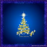 Abstract background with gold christmas tree and stars. Illustration in blue and gold colors.Vector illustration. Abstract background with christmas tree and vector illustration