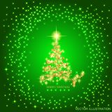 Abstract background with gold christmas tree and stars. Illustration in green and gold colors. Vector illustration. Stock Photos