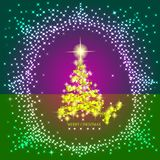 Abstract background with gold christmas tree and stars. Illustration in lilac,gold and green colors. Abstract background with christmas tree and stars Royalty Free Stock Photo