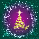 Abstract background with gold christmas tree and stars. Illustration in lilac,gold and green colors.Vector illustration. Abstract background with christmas tree Royalty Free Stock Photo