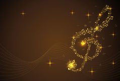 Abstract Background with gold color Music notes Royalty Free Stock Photos
