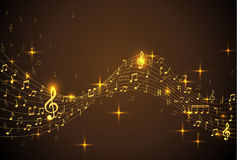 Abstract Background with gold color Music notes. Vector Illustration stock illustration