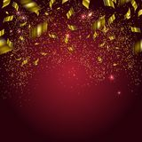 Abstract background with gold confetti. Vector illustration Stock Photography