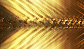 Abstract background with gold dollar symbols. 3d illustration Royalty Free Stock Photography