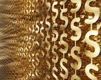 Abstract background with gold dollar symbols. 3d illustration.  Royalty Free Stock Photo