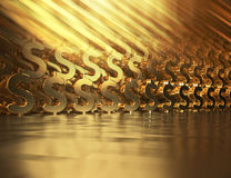 Abstract background with gold dollar symbols. 3d illustration.  Stock Photos