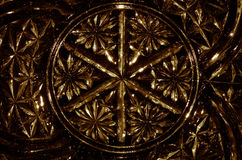 Abstract Background: Gold Gothic Pattern in Cut Glass Stock Photo