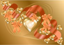 Backgrouond with gold hearts. Abstract background with gold hearts for Valentine`s Day vector illustration
