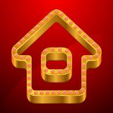 Abstract background with gold house and jewels.  Stock Photos