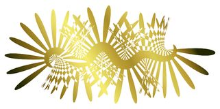 Golden Background Abstract Light Beams. Abstract background with gold lights ray shapes along a wavy path Stock Photo