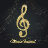 Abstract background with gold music notes and a treble clef. Gold glitter Stock Photos