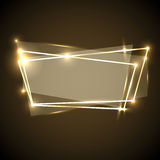 Abstract background with gold neon banner Stock Photo