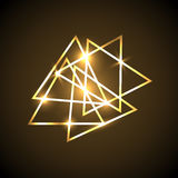 Abstract background with gold neon triangles Stock Photo